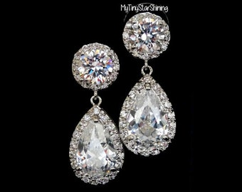 Bridal Earrings Weddings Earrings clear white cubic Zirconia Bridal Earrings  Silver Earrings Pear Round Cubic zirconia Post earrings