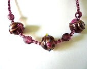Necklace Venetian style triple Amethyst Colour Rosebud Detail crystal and glass bead by JulieDeeleyJewellery on Etsy