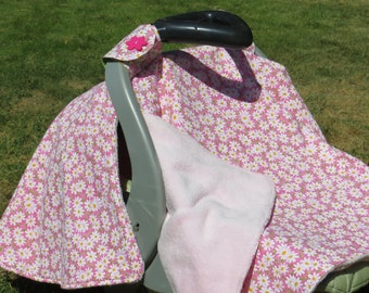 Car Seat Canopy, Cover, Car seat blanket, baby blanket, Daisy Fabric, pink, white, baby girl
