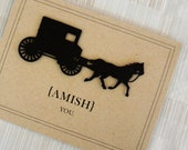 """Funny Thinking of You Card - I Miss You - Vintage - 100% Recycled Paper -  """"Amish You"""""""