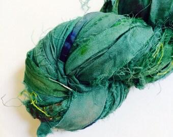 Recycled Sari Silk Ribbon Yarn, Sari Ribbon, Lawn