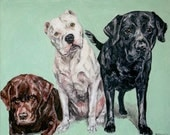 CUSTOM Pet Portrait Oil Painting 24x30 Pet Memorial Birthday Gift Three dogs