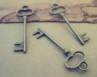 20pcs of  Antique Bronze key pendant charm 13mmx40mm