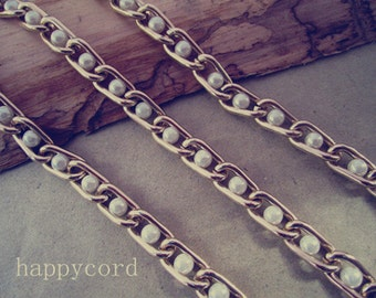 2metre (6.5ft) light gold  tone aluminum chain with beads 7mmx13mm