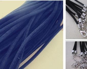 50pcs 16-18 inch adjustable black color velvet necklace cord 2mm