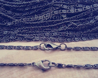10 pcs 2mm 19inch antique  bronze chain necklace with lobster clasp