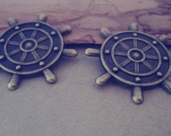 12pcs antique bronze rudder pendant charm 33mm