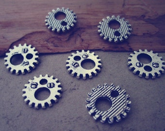 50pcs Antique silver gear pendant charm 12mm