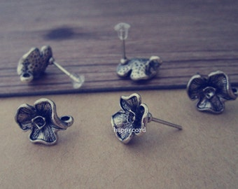 22pcs 13mm x14mm  Antique silver Flower  Stud Earrings Accessories