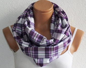 Autumn products opportunities. Plaid Scarf, Autumn Neck accessory, infinity scarf,