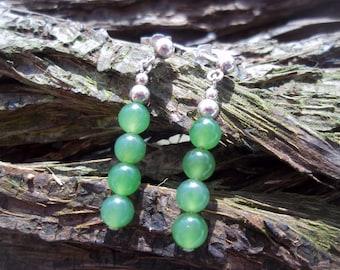 Jade & Sterling silver earrings