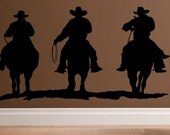 wall decal Cowboys riding silhouette vinyl wall decal western decal home decor horse decor cowboy decor living room decal man cave decal boy