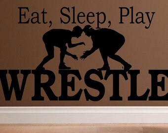 Eat, sleep, play Wrestle wall decal WD kids decor wrestling decal sport decal boy decal home decor decal for men wall decal living room