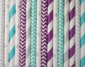 Aqua Silver Pruple Paper Drinking Straws ~ Frozen Party ~ Set of 25 or 50
