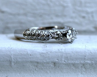 Vintage Pave Three Stone Diamond Engagement Ring in 14K White Gold - 2.10ct.