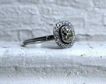 Stunning Vintage Platinum Cushion Cut Halo Diamond Engagement Ring - 1.65ct.