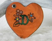 Personalized Leather Heart Keychain or Bag Tag