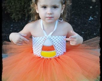 Handmade Gorgeous Candy Corn Tutu Halloween Costume with headband