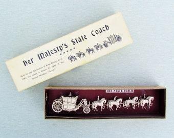 Vintage coronation coach for Queen Elizabeth, coronation souvenir, all metal in original box