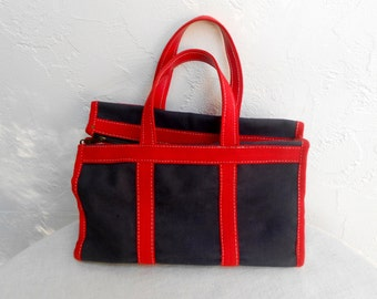 Vintage 1976 Tote in Red and Blue Canvas