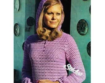 1970s Hooded Tunic or Hoodie Shirt - Crochet pattern PDF 1972