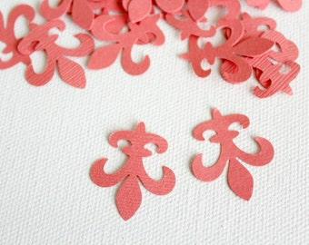 50 Coral Fleur de lis Die cuts punches cardstock 1 inch -Scrapbook, cards, embellishment, confetti