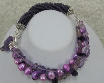 Amethyst Bracelet, Triple Strand Bracelet, Gemstone Bracelet, Purple Bracelet, Butterfly Charm Bracelet, Gemstone and Pearl Bracelet