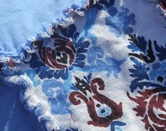 Abstract Blue and Maroon Rag Quilt