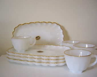 Vintage Milk Glass Lunch Plates and Cups, Fireking Luncheon Plates Wedding Shower Shabby Chic