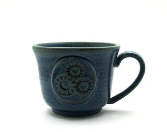 Blue Steampunk Coffee Mug, Steam Punk Inspired Gears Ceramic Cup - Ready to Ship - Handmade Pottery Anniversary Husband Gift for Men