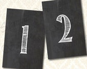Chalkboard Table Numbers Set 1-20 - Seating Assignment 4x6 Flat Cards, Printable Table Number Cards