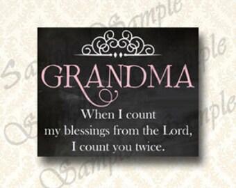 Printable Grandma Blessing Inspirational Art, Grandmothers Gift,  Chalkboard Print 8x10 Instant Download