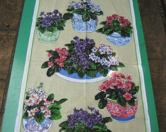 Tea Towel Vintage Violets  Very 1970s