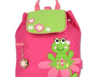 Personalized Stephen Joseph Girl Frog Backpack, Diaper Bag, Toddler Backpack, Overnight Bag with FREE Embroidery