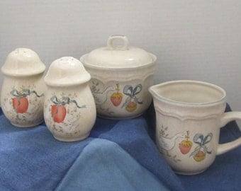Four Piece Stoneware Set, Creamer, Sugar Bowl, Salt and Pepper Shaker Made in Japan