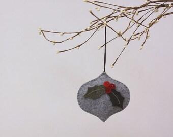 NIkkie's Felt Holly Christmas Ornament