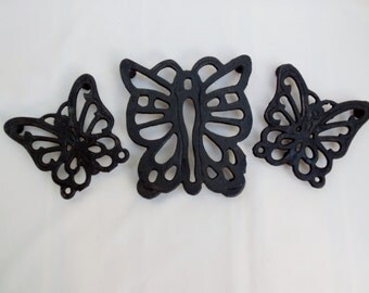 Set of Butterfly Cast Iron Trivets or Coasters Three Metal Hot Pads Made in Taiwan