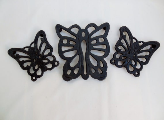 Set Of Butterfly Cast Iron Trivets Or Coasters Three Metal Hot