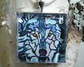 Nature Jewelry : Wildlife Pendant / Necklace, Original Art, Silver or Gun Metal, Wolf