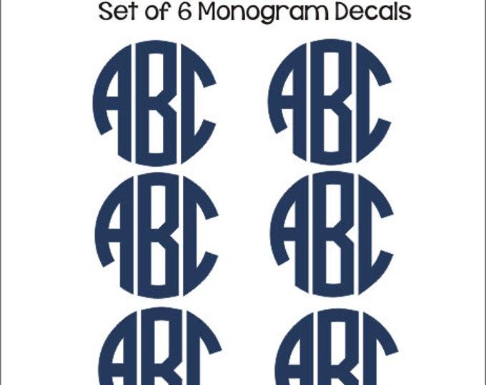 Set of Monogram Decals Set of Six Decals Small Monogram Decals Labels Notebook Folder Binder Decals Personalized Preppy Back to School