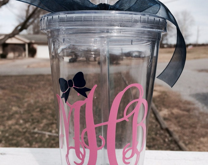 Vine Monogram Cup with Bow Preppy Cup Southern Cup Monogram Cup 16 oz Acrylic Cup Personalized