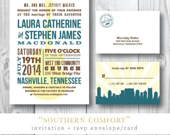 Southern Comfort Collection Printed Wedding Invitations | Printed or Printable by Darby Cards