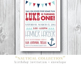 Nautical Collection Printed Invitations | Sail Away Birthday Party Invitation | Printed or Printable by Darby Cards