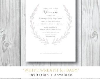 White Wreath Shower Invitations
