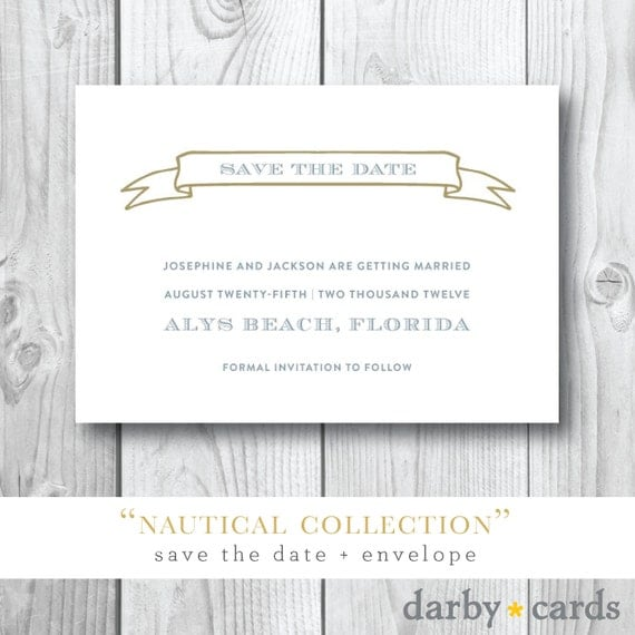 Nautical Collection | Save the Date Cards | Printed or Printable by Darby Cards