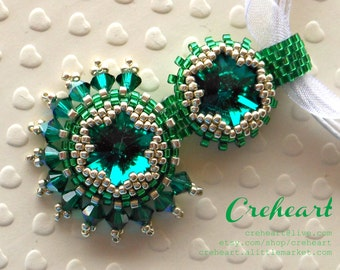 Green Emerald Beadwork, Swarovski Crystal Pendant, Rivoli, Bridesmaids unique Gift, Birthday Friends, Mum, Anniversary, Dream - Creheart