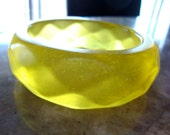 YELLOW FACETED TRANSPARENT Jello Clear Chunky Domed Super Bold Vintage Lucite Bangle Bracelet For Larger Size Wrists