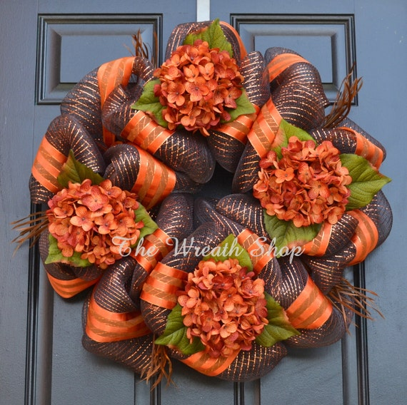 12 Easy Diy Deco Mesh Wreaths For Fall: Fall Hydrangea Wreath Fall Deco Mesh Wreath In Chocolate