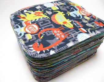 Cloth Wipes, Cloth Diaper Wipes, 60 Boys Mixed Prints, Eco-Friendly Reusable Cloth Wipes, Family Cloth