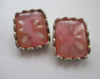 Vintage Jewelry Clip on earrings, clear pink swirl glass square and silver metal, not Signed